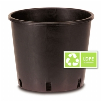 Black Round Plastic Pot 18L - 30x30cm