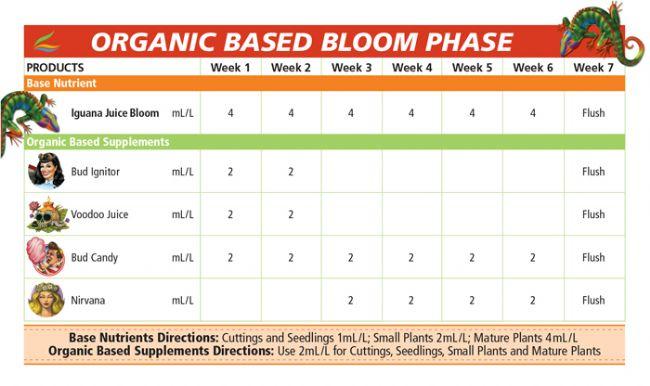 Advanced nutrients iguana juice bloom 1lt for Fish feeding chart
