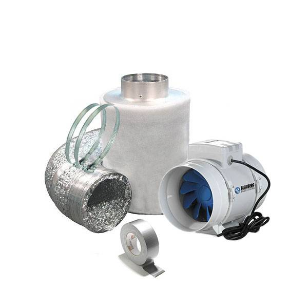 Air Extraction Kit + Anti Odor Carbon Filter Ø 12,5CM - 280 m3/h Capacity