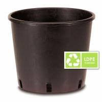 Black Round Plastic Pot 12L - 26x26cm